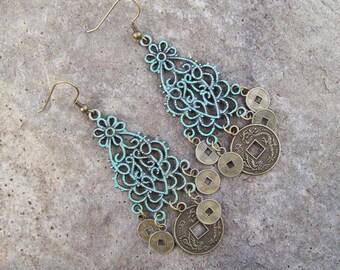 Patina Chandelier Earrings with Oriental coin charms - Filigree Gypsy Earrings - Patina Boho Earrings