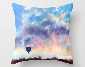 Hot Air Balloon Sunrise Watercolor Throw Pillow Cover