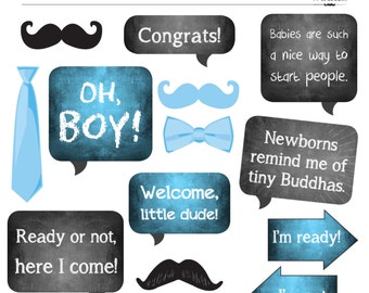 DIY Photo Booth Printables - BABY SHOWER - It's a boy!
