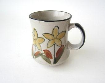 vintage mug, stoneware mug, floral mug, flower mug, speckled mug, charming and rustic
