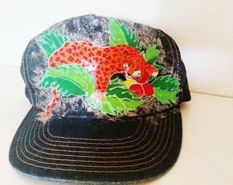 UniQue Vintage 1980s 1990s Jaguar Cheetah Leopard Glitter Sparkle SnapBack Hat