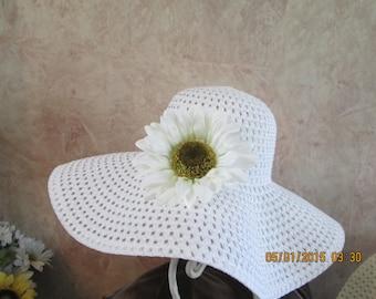 Mother's Day Hat - Mother's Sunflower Hat - Wide Brim Sunflower Hat - Women's Derby Hat