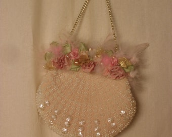 Fairie Purse Angels Blush Art to Wear Upcycled Vintage with My Artwork Palest Pastels