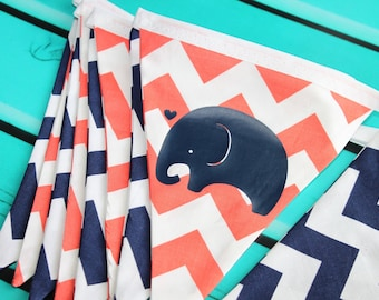 Coral and Navy Chevron Bunting Banner