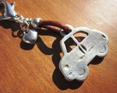 car keychain, Leather keychain, handbag accessories, zipper charm , silver keychain, zipper charms, gift ideas, christmas, gift for men