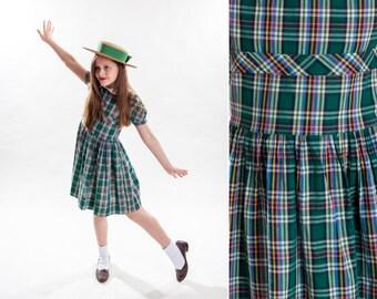 1950s Green Plaid Girls Dress - Peter Pan Collar- 1940s Puff Sleeve