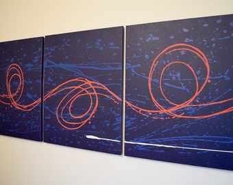 "triptych huge wall art  wall hanging ""Big Blue 2"" 48 x 20 "" huge canvas art 3 panel wall art three panel wall decor home decor"