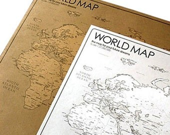 2 World Travel Map Sketches Posters - White, Kraft (39.4 x 20in)