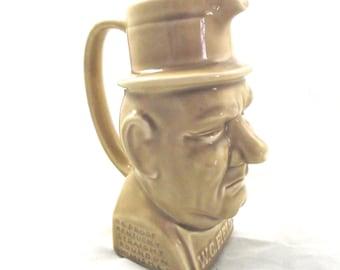 W. C. Field Bourbon Pitcher, Vintage Ceramic Jug in Tan Color