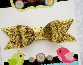 Gold Glitter Bow, Gold Bow, Gold Glitter Hair Bow, Gold Hair Bow, Glitter Bow, Toddler Bow, Toddler Hair Bow, Girls Hair Bow