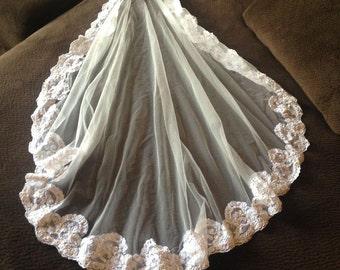 Vintage IVORY Beaded Alencon Lace Mantilla Bridal Veil