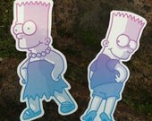 Two Stickers, Bart in heels and Bart in a dress