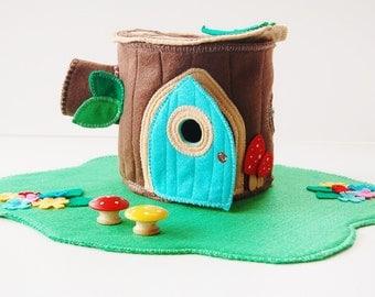 Woodland Cozy Log Cottage - Tree Stump House - Doll House - Felt Toy - Unique Gift - Zooble Toy