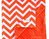 Minky Baby Blanket Bright Orange & White Minky Blanket, Chevron Blanket, Toddler Bedding, Baby Gift, Throw Blanket, Custom Blanket