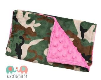 Burp Cloths Hot Pink & Camo Minky Burp Cloth - Rustic - Girls - Baby Shower - Gift - Feeding - Nursing - New Mom - Essentials