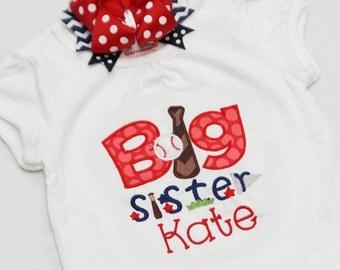 Personalized Big Sister BASEBALL Shirt - Big sister shirt and Hairbow