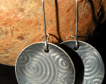 Swirl   -   Textured Swirl Earrings -  Handcrafted Sterling Silver Earrings  -   Raised Swirl Patterned Earrings