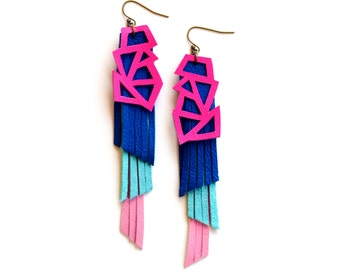 Neon Earrings, Hot Pink Earrings, Color Block Leather Geometric Earrings, Geometric Triangle Fringe Jewelry