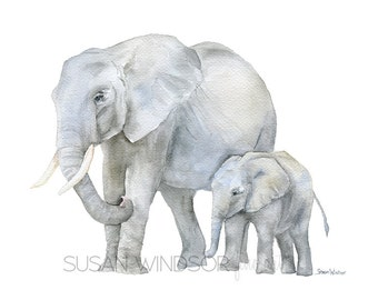 Elephants Watercolor Painting Print - 14 x 11 - Mother and Baby Giclee Reproduction - African Animal - Safari - Nursery Decor