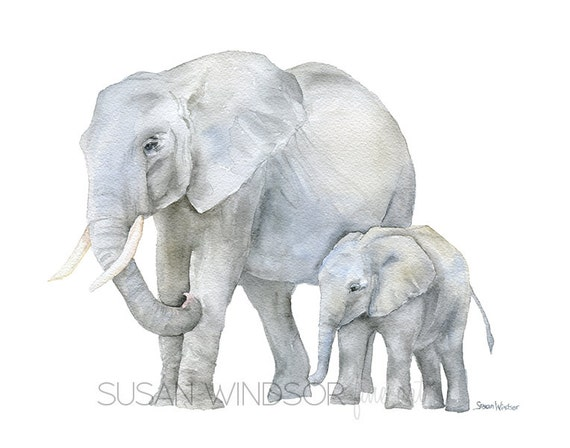Mom And Baby Elephant Holding Tail Drawing
