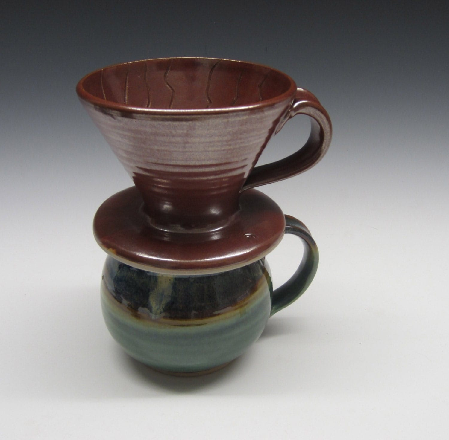 Drip coffee maker / handmade / pottery / reddish by SookjaeArt