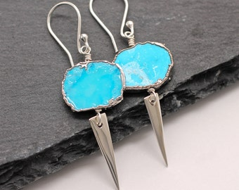 Turquoise Earrings , Blue Earrings , Long Earrings , Spike Earrings , Dangle Earrings , Silver Earrings , Triangle Earrings , Amy FIne