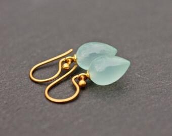 Blue Gemstone Earrings Small Earrings Light Blue Pastel Tear Drop Earrings Bridal Jewelry Wedding Jewelry  Gift For Her Jewelry Under 100