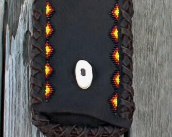 Leather phone belt bag , Beaded belt bag, leather phone case, Brown leather phone case