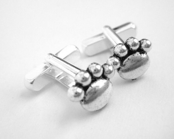 Silver Paw Print Cufflinks - Cat Dog Pet Lover Gift For Men - Animal Cuff Links