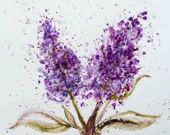 Purple Lilac watercolor blossoms flower art - art gift - watercolor  Fine Art Giclee PRINT by CheyAnne Sexton