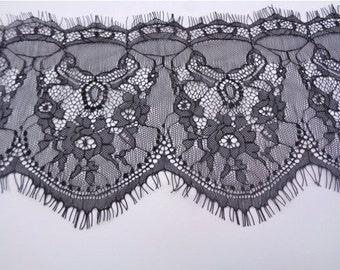 "5.75"" Wide Black Floral Stretch Nylon Lace Trim Bridal Wedding  Eyelash Victorian Style Leaver Lace Scalloped Lace for Lingerie FJT"