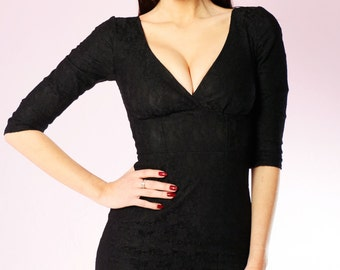 Black Lace Vida wiggle Dress long sleeve