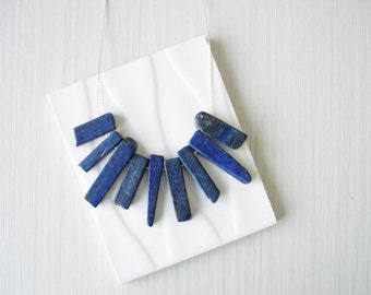 Blue Stone Necklace, Lapis Lazuli Jewelry, Funky, Edgy, Raw, Artsy, Silver, Modern, Long, Semi Precious, Semiprecious