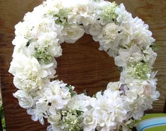White Wedding Wreath of Various Silk Florals, Mixed Summer White Silk Florals Front Door Wreath