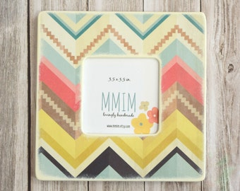 Wild Chevron Picture Frame - Colorful Chevron Photo Frame, Picture Frames, Bohemian Decor, Aztec Style, Southwestern, Unique Frames, Bold