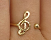 gold ring, treble clef ring, music note ring, music ring, adjustable ring, thin gold ring, delicate ring, simple ring, Christmas gift