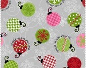 Merry & Bright from Maywood Studios - Full or Half Yard Christmas Ornaments on Gray - Pink, Red, Green
