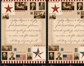 For the People from Wilmington Prints - Panel of Pledge of Allegiance, Betsy Ross, George Washington, American Flag