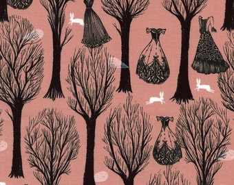 Spellbound from Cotton + Steel - Haunted Forest Coral by Sarah Watts - Modern Halloween Floating Dresses, Bare Trees