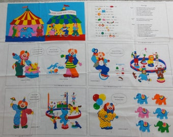 Here Come the Clowns, Soft Cloth Book, Circus Clowns, Cotton Fabric Panels- New Baby Gift, Baby Shower Present, Child Book, Baby Book