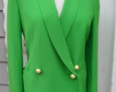 Vintage 80's Gianni Versace Couture Lime Green Blazer Versace Italy Wool Lime Grass Green Italian Double Breast Pearl Buttons 8