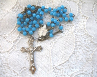 Vintage Small Opaline Blue Glass Bead Rosary