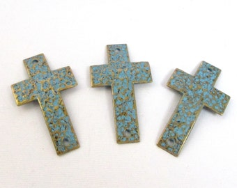 Brass Cross Link - Teal Blue Bronze Rustic Patina - Cross Charm - 2 Holed Hammered Cross Curver - Bracelet Hers Connector 2 Pcs - Diy Supply
