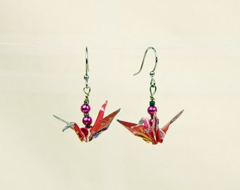 Peace Crane Earrings - Eco-Friendly Origami in Red Multicolor, Hand-made