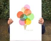 "Mi piace gelato poster print  20""x27"" - archival fine art giclée print"