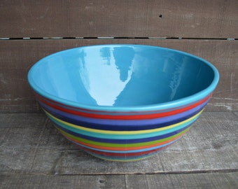 Rainbow Stripes Extra Large Hand Painted Serving Bowl - Colorful Striped Pottery - Dinnerware