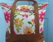 Leather Botton White, Pink, Green and Yellow Floral Senna Tote/Diaper Bag/Beach Bag