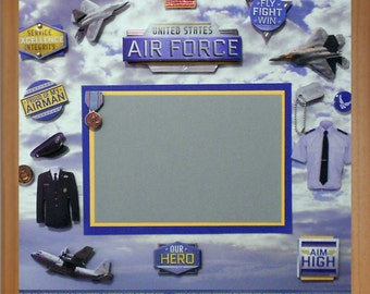 AIR FORCE HERO Pre-Made Memory Album Page (Gallery Wood Shadow Box Frame Sold Separately)