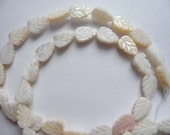Bead, Mother of Pearl, Shell, Natural, Bleached, White, 10x6mm to 11x7mm, Carved Leaf, Mohs hardness 3, Pkg Of 8