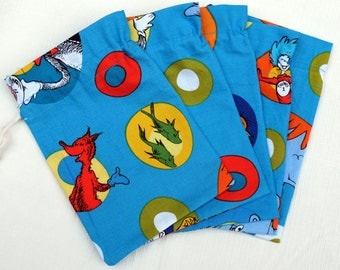 """Treat Bags Set Of (5) 5"""" X 7""""  Dr. Seuss Cotton With Drawstring"""